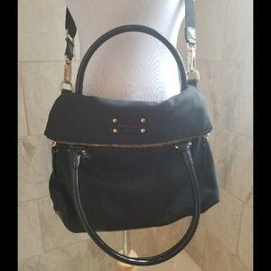 Large Kate Spade Black Nylon Foldover Shoulder Bag